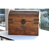 Best Day Ever Wedding Card Box with Lock Option Wedding Keepsake Box Wood Wedding Card Keeper