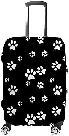 スーツケースカバー 黒色 足跡 伸縮素材 キャリーバッグ お荷物カバ 保護 傷や汚れから守る ジッパー 水洗える 旅行 出張 S/M/L/XLサイズ