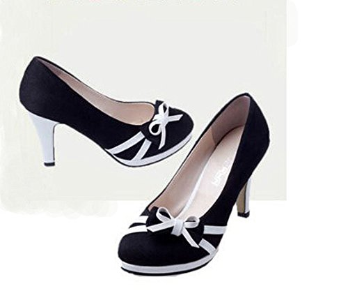 Woman Bowtie Pointed Pumps Heel Toe High Black Women High Shoes Heels rwIxrpq7
