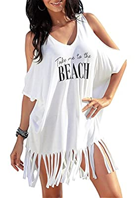 Rainlover Womens Letters Print Baggy Swimwear Bikini Cover-ups Beach Dress