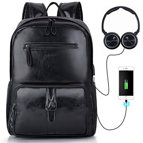 fc743e92f2 Bageek 15.6 Inch Laptop Backpacks for Men PU Leather Mens Rucksacks with  USB Charging Port Mens Black Backpacks for Work Boys College Backpacks