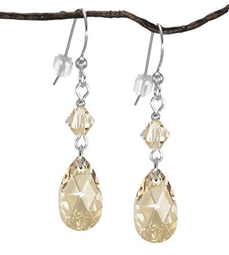 Swarovski Crystal Golden Shadow Teardrop and Bicone Sterling Silver Earrings