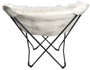 Soft White Plush faux fur fabric Butterfly Chair