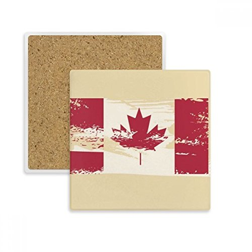 Canada Flavor Flag and Maple Leaf Square Coaster Cup Mug Holder Absorbent Stone for Drinks 2pcs - Coaster Flag Canada