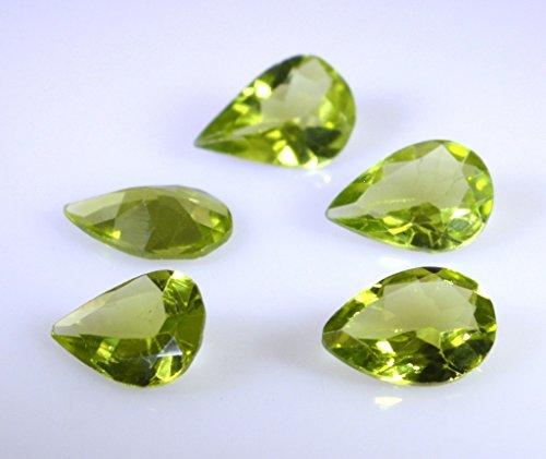 pierres précieuses en vrac peridote 1 pièces 7 x 10 mm poire de pierres précieuses facettes vert