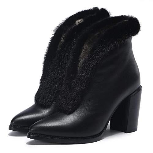 Black Stivali Caldo Stivali Bare Stivali Alto Autunno Donna Stivali Sexy Donne Appuntito Tacco Martin Stivali 66U1Zq