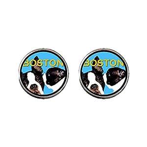 Chicforest Silver Plated Boston Terrier Photo Stud Earrings 10mm Diameter