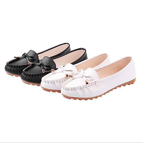 ANDAY Women's Comfortable Round Toe Soft Sole Loafers Flats Doug Shoes With Bow White YlmwmNl0BV