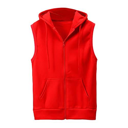 UJUNAOR Fashion Men Sleeveless Solid Hooded Waistcoat Slim Jacket Blouse...