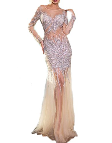 Women's Long Sequined Sheer Evening Party Prom Dresses EL318