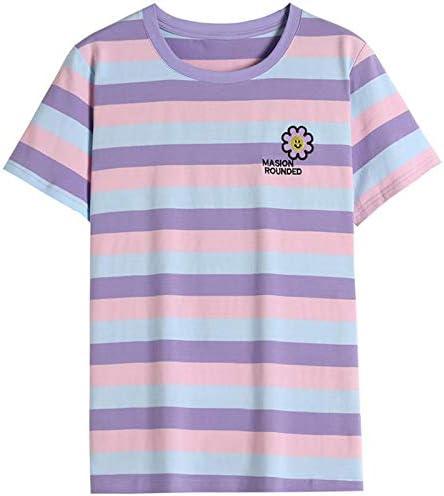 JASCLS Women' s Summer Cute Crewneck Striped Short Sleeve Casual T-Shirt Top Blouse Tunic