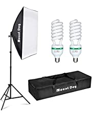 """MOUNTDOG 950W Photography Studio Soft Box Lighting Kit Continuous Lighting Set for Video Filming YouTube (20x28 Softbox + 80"""" Tall Light Stand + 5500K Daylight Bulbs + Carrying Bag)"""