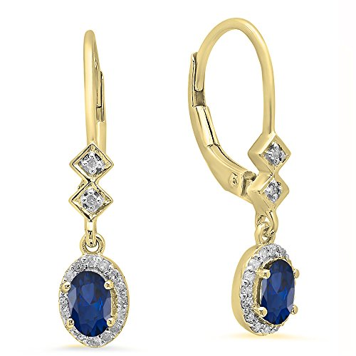 Dazzlingrock Collection 10K 5X3 MM Each Oval Blue Sapphire & Round White Diamond Ladies Dangling Drop Earrings, Yellow -
