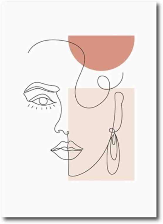 Cuadros de lienzo Arte de pared Mujer Cara Línea Pintura de arte Línea minimalista moderna Cartel de arte Figura femenina Impresiones Decoración de arte 40x50 cm (15.7x19.7 pulgadas) Con marco