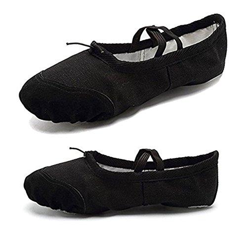 YOGLY Zapatos de Baile Para Niñas Ballet Danza Suelas Blandas, Cómodos Profesional Bailarina Zapatos Transpirables Zapatos de Baile de Alta Calidad Negro