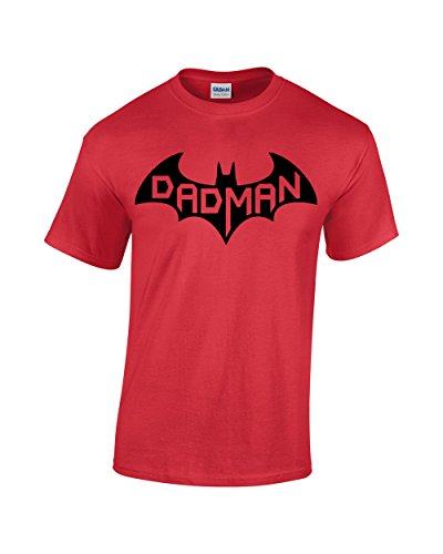 CBTWear Dadman - Super Dadman Bat Hero Funny Premium Men's T-Shirt (Medium, Red)