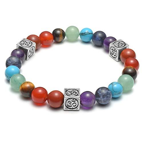 Top Plaza Women Men 7 Chakra Bracelet 8MM Healing Crystals Natural Gemstone Beads Yoga Meditation Stretch Bracelets with Copper OM Symbol Charm - ()
