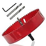 LICTOP 165mm/6.5'' BI -Metal Wood Hole Saws Bit Tooth Cutting for Cornhole Board Metal Plastic Fiberboard (Color: Red, Tamaño: 165mm/6.5'')