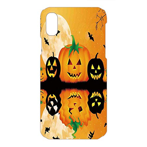 Phone Case Compatible 3D Printed 2018 Apple iPhone Xs MAX DIY Fashion Picture,Carved Halloween Pumpkin Full Moon Bats,Lovely Personalized Hard Plastic Phone Case Fashion -