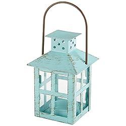 Kate Aspen, Distressed Metal Vintage Decorative Mini Lantern, Centerpiece, Party Favor, 2.5 x 2.5 x 6.5, Blue