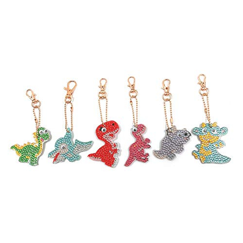 - 6pcs Cartoon Dinosaur Key Ring with Lobster Clasp Hardware 5D DIY Diamond Keychains Rhinestone Crystal Jewelry Charm Pendant Keyring Gift Findings (G)