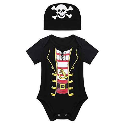 FEESHOW Baby Boys Pirate Halloween Costumes Party Outfit Romper Bodysuit with Hat Fancy Dress up Clothes Black 0-6 Months ()