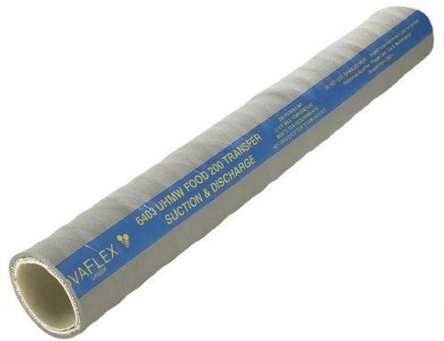 Novaflex 6403 Polyethylene Food Suction and Discharge Hose, 29'' Hg Vacuum Rating, 200 psi Maximum Pressure, 100' Length, 1'' ID, 1-7/16'' OD, Grey
