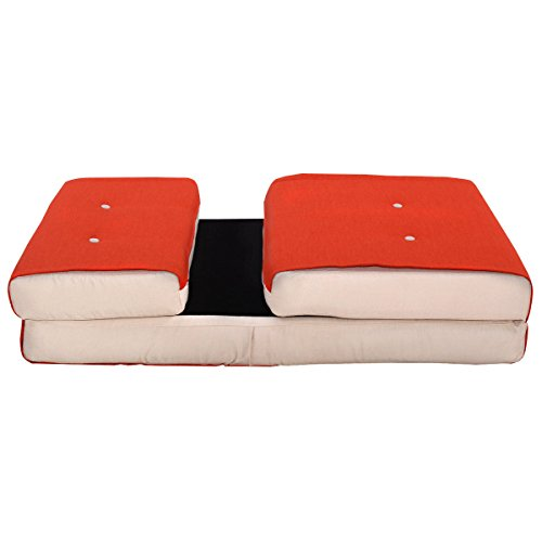 Fold Down Chair Flip Out Lounger Convertible Sleeper Bed Couch Game Dorm Orange by Tumsun (Image #3)