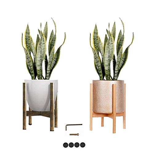 Melchef Mid Century Plant Stand Modern Wood Plant Stander Plant Pot Holder,Indoor Out Flower Pot Stands,Handmade Wood Standing Holder for Indoor House Plants and Outdoor Patio Deck(Pot not Included)