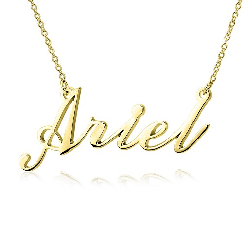 LONAGO Personalized Name Necklace 18K Gold Plated Custom Made Any Nameplate Classic Cursive Rose Gold Sterling Silver ()