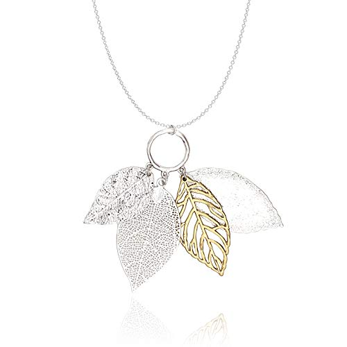 (POMINA Filigree Leaves Gold Silver Long Necklace for Women (Worn Silver) )