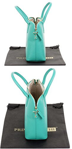 marque Grab bandoulière Hand cabas de Aqua sac ou cuir Made rangement main en de protection style Sacchi à italienne un Comprend de de Primo à sac Bleu texturé bowling sac XwUp6xq