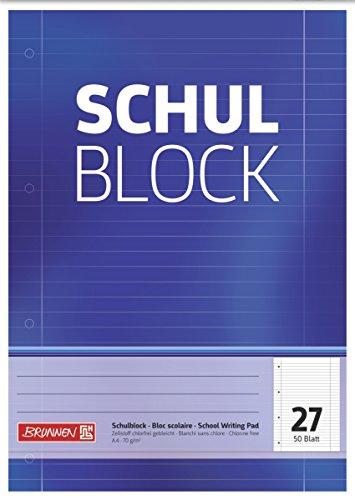 Brunnen 1052527 Schulblock / Notizblock (A4, 50 Blatt, liniert, mit Randlinien, Lineatur 27, gelocht, kopfverleimt, 70g/m²)