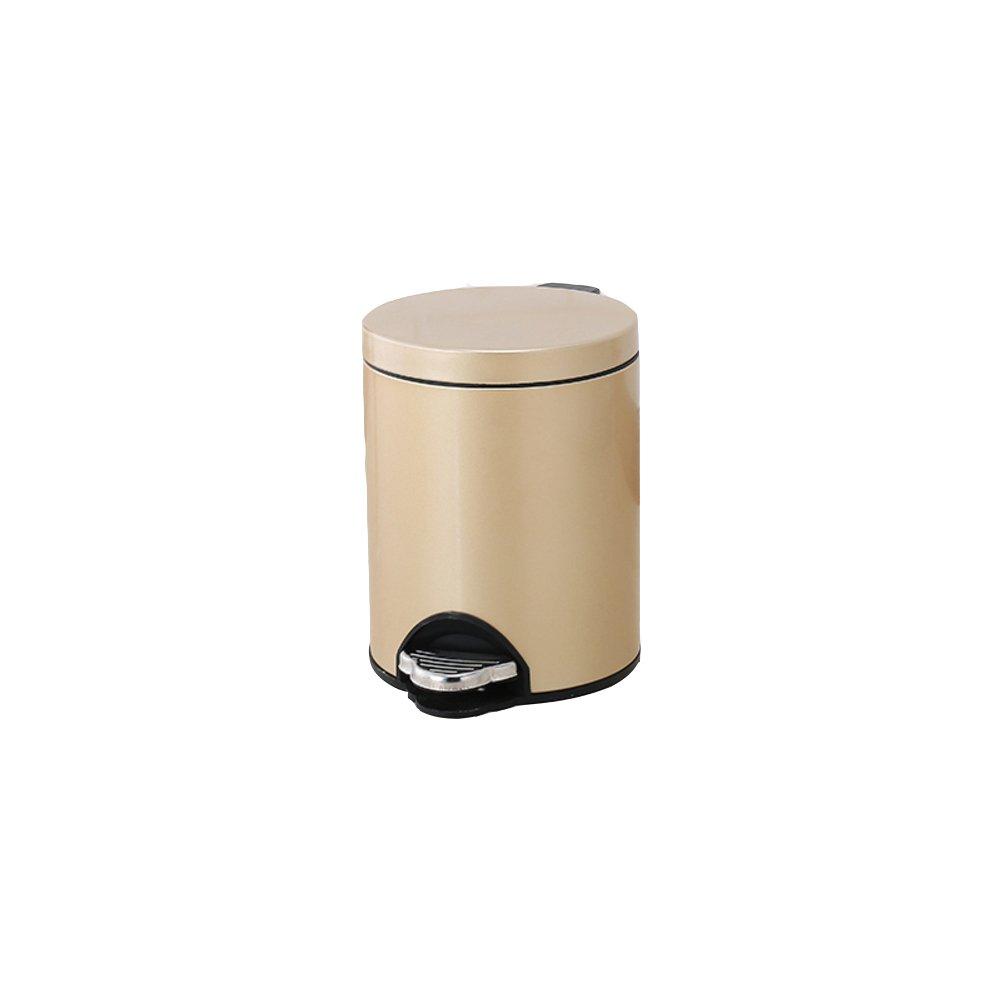 QWERTYUI Schritt Trash can Abfalleimer mit Deckel rund Edelstahl Trash can in Home & Küche Badezimmer büro-J