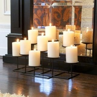 9 Pillar Candle Holder Tiered Candelabra Fireplace Black Metal Home Accent Decor