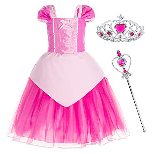 Two Girls Costumes (Princess Aurora Costume Birthday Party Dress for Toddler Girls 2-3 Years (2T)