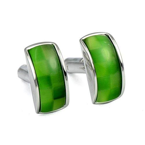 ENVIDIA Green Opal Cufflinks Fashion Wedding Party Gifts with Box