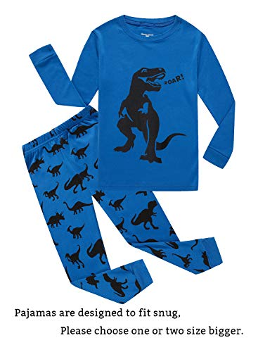 - Dinosaur Little Boys Long Sleeve Pajamas Sets 100% Cotton Pyjamas Toddler Kids Pjs Size 2T Blue