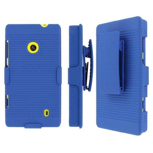 Lumia 521 Belt Clip Case, MPERO Collection 3 in 1 Tough Blue Kickstand Case for Nokia Lumia 521