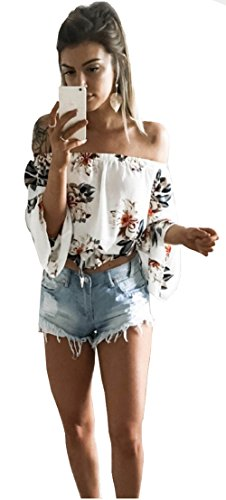 [Longwu Fashion Women's Off Shoulder Floral Printed Blouse Shirt Long Sleeve Casual Tops White-L] (Sexy Pirate Chicks)