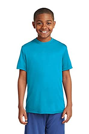 Dri-Wick Youth Sport Performance Moisture Wicking Athletic T-Shirt (X-Small, Atomic Blue)