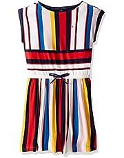 فستان ضيق بمقاس كبير للفتيات من شركة تومي هيلفيغر مع قفل بشريط فيلكرو وخصر مطاطي