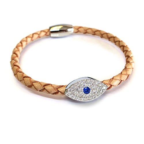 Evil Stack - Liza Schwartz Jewelry Sapphire Evil Eye Leather Bracelet (Camel)