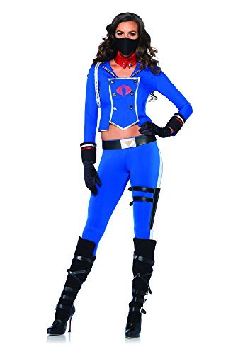 (Leg Avenue Women's GI Joe 6 Piece Cobra Girl Costume, Blue,)