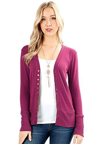 Sportoli Womens Long Sleeve Knit Snap Button Sweater Cardigan Regular & Plus - Magenta (Size - Sleeve Knit Cardigan Long