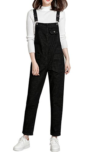 Gihuo Women's Classic Bib Overall Denim Jumpsuit Sleeveless Romper with Pockets (Medium, Black)