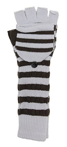 LL- Womens Warm Winter Arm Warmer Fingerless Long Gloves Fliptop Mittens Striped (Brown and Gray) (Striped Glove Convertible)