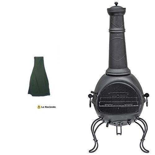 La Hacienda 60534 Large Deluxe Chimenea Rain Cover - Green & La Hacienda 56063B 136cm XL Murcia Steel Chiminea with Grill - Black Set