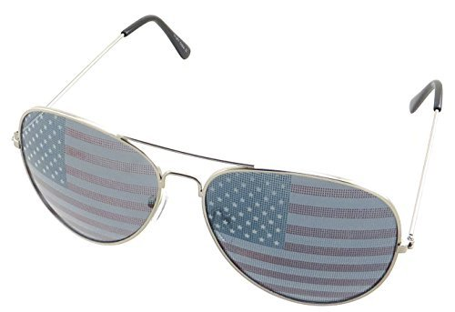 (Classic Aviator Sunglasses USA Flag on Lenses GOLD)