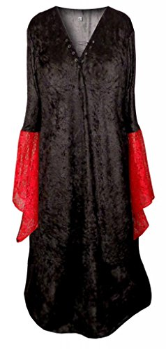 Lace Costume Morticia (Sanctuarie Designs Women's Gothic Witch Black W Red Lace Sleeve Plus Size Supersize Halloween Costume)